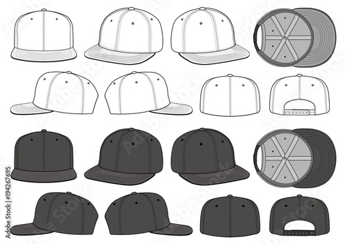 Stampa su Tela  SNAPBACK CAP fashion flat technical drawing template