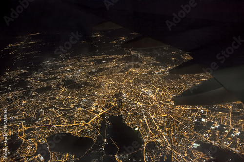 plakat aerial photo of Rome city in Italy. airplane view at night
