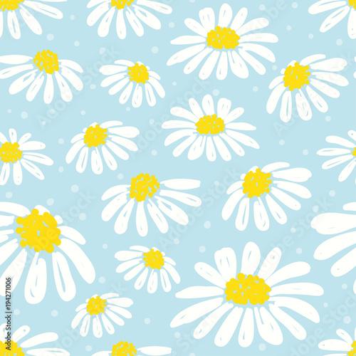 Seamless daisy pattern Tableau sur Toile