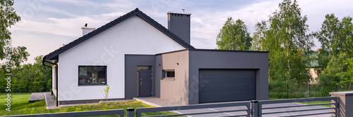 Fototapeta Villa with fence and garage obraz