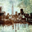 canvas print picture - Grunge textured New York city skyline with dripping and copy space.