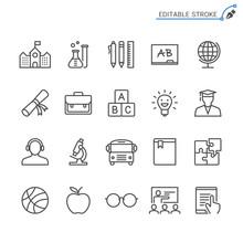 Education Line Icons. Editable Stroke. Pixel Perfect.