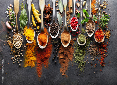 Canvas Prints Spices Spices on black board