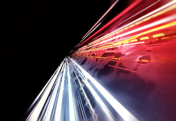 Streaming car light trails background. 3D illustration
