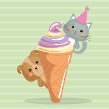 Cute Dog And Kat With Ice Cream Kawaii Birthday Card Vector Illustration Design