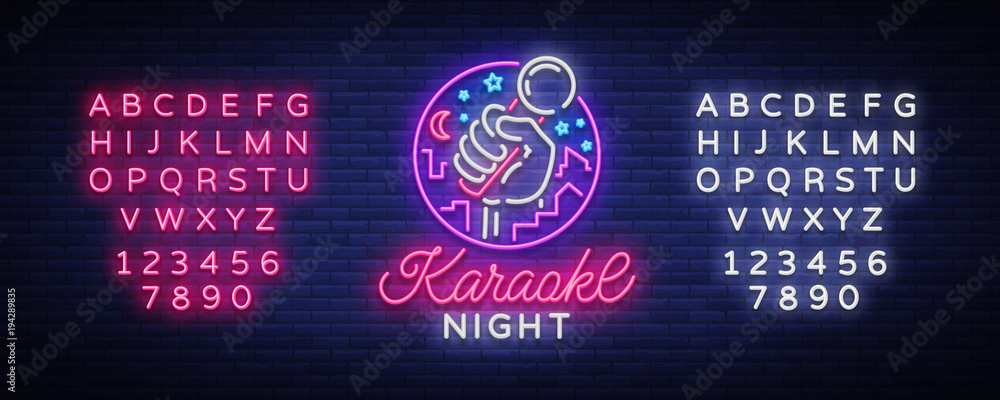 Fototapety, obrazy: Karaoke night vector. Neon sign, luminous logo, symbol, light banner. Advertising bright night karaoke bar, party, disco bar, night club Live music. Design template. Editing text neon sign