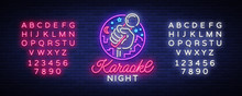 Karaoke Night Vector. Neon Sign, Luminous Logo, Symbol, Light Banner. Advertising Bright Night Karaoke Bar, Party, Disco Bar, Night Club Live Music. Design Template. Editing Text Neon Sign