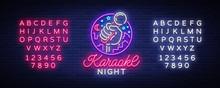 Karaoke Night Vector. Neon Sig...