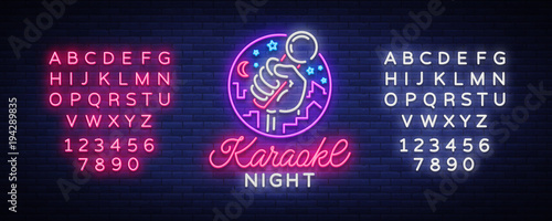 Karaoke night vector. Neon sign, luminous logo, symbol, light banner. Advertising bright night karaoke bar, party, disco bar, night club Live music. Design template. Editing text neon sign - 194289835