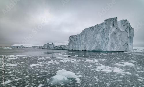 Poster Glaciers icebergs on arctic ocean in greenland