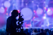 canvas print picture - The filmmaker is recording and broadcasting live concerts on camcorders. Professional Video Recording Business