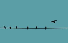 Social Distancing Concept. Bir...