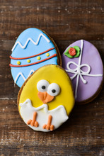 Cookies Decorated As Easter Eg...
