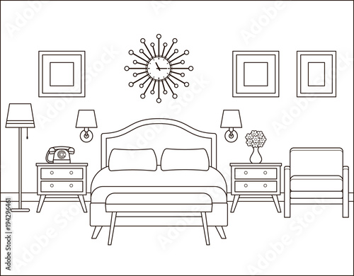 Room Interior Hotel Bedroom With Bed Vector Linear