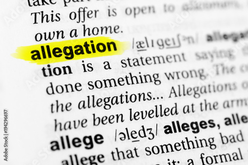 Highlighted English word allegation and its definition in the dictionary Canvas Print
