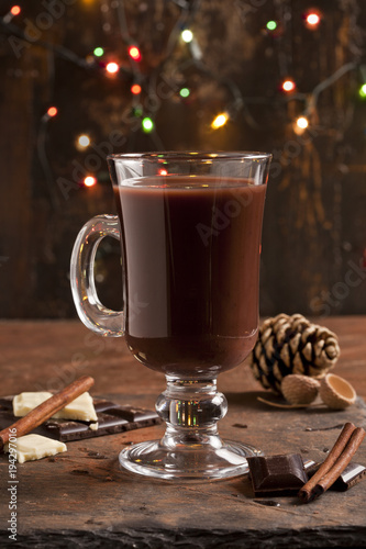 Poster Chocolade Hot chocolate and chocolate pieces