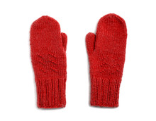 Red Mittens Isolated On White ...