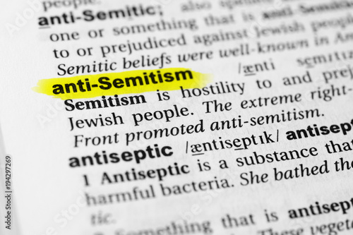 Highlighted English word anti semitism and its definition in the dictionary Wallpaper Mural