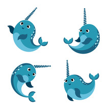 Cartoon Happy  Smiling Narwhal...