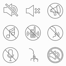 Set Of Keep Silence Signes. Line Vector Icons. Outline Style