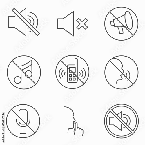 Set of keep silence signes. Line vector icons. Outline style Canvas-taulu