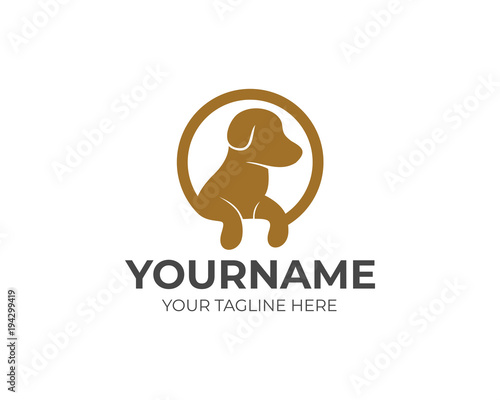 Dog with paws in circle logo template Wallpaper Mural