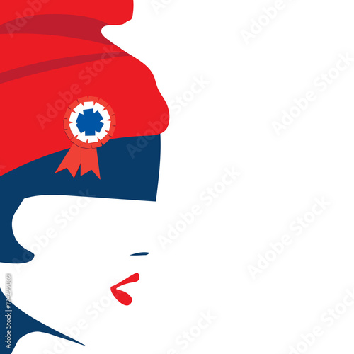 Fotografía  Vector illustration for French National Day or The Fourteenth of July, also called Bastille Day: The symbol of France Marianne and a space for copy