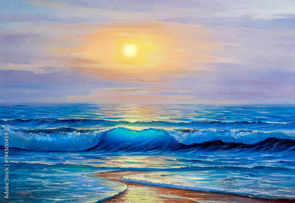 Fototapeta Morning on sea, wave, illustration, oil painting.