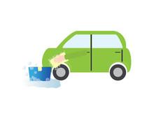 Car Wash Vector Illustration. Green Car And Blue Bucket
