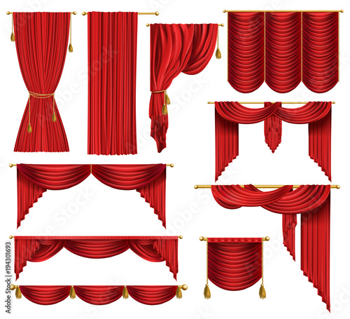 Fotomural  Vector 3d realistic set of red luxury curtains, open and closed, with drapery and decorative cords and tassels isolated on background