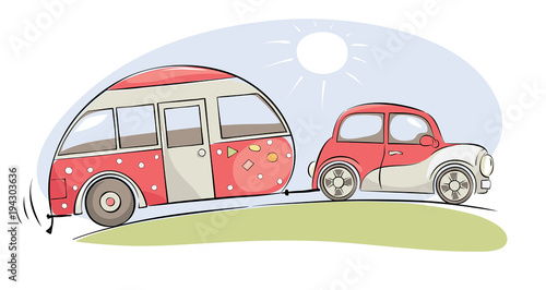 Cartoon voitures Summer travel in a house on wheels / Funny pink retro car with camping ride on a trip, vector illustration