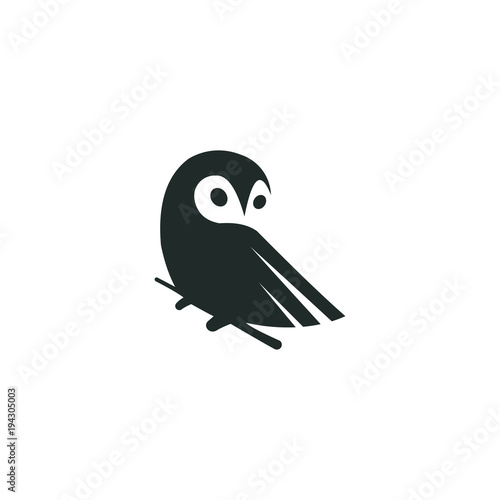 Keuken foto achterwand Uilen cartoon owl logo vector graphic minimalist outline art
