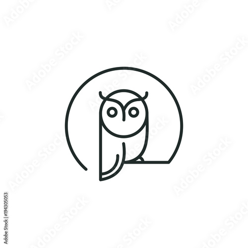 Photo Stands Owls cartoon owl logo vector graphic minimalist outline art