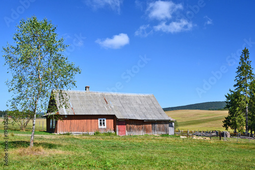 Poster Monument Traditional wooden rural house, Beskid Niski, Poland