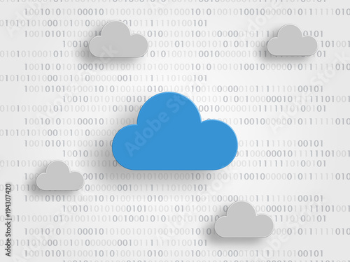 Clouds on digits as background represent iCloud technology concept Canvas Print