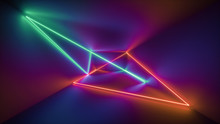 3d Rendering, Glowing Lines, Neon Lights, Abstract Psychedelic Background, Ultraviolet, Rainbow Vibrant Colors, Laser Show