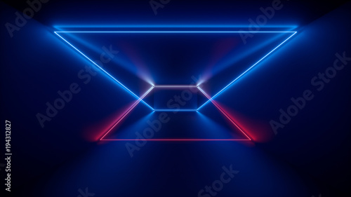 Photo  3d rendering, glowing lines, neon lights, abstract psychedelic background, produ