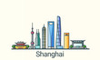 Banner of Shanghai city in flat line trendy style. All buildings separated and customizable. Line art.