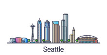 Banner Of Seattle City In Flat...