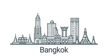 Linear Banner Of Bangkok City. All Buildings - Customizable Different Objects With Clipping Mask, So You Can Change Background And Composition. Line Art.
