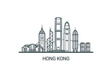 Linear Banner Of Hong Kong Cit...