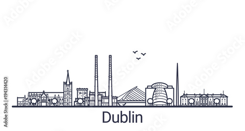 Linear banner of Dublin city Canvas Print