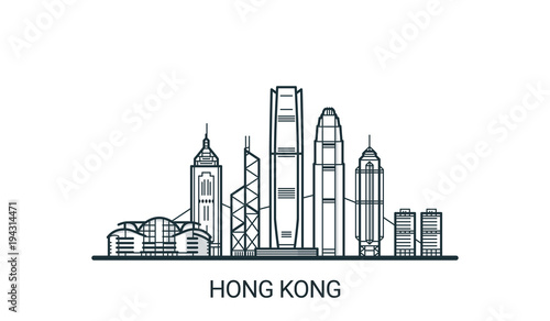 Obraz na plátně Linear banner of Hong Kong city