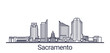 Linear banner of Sacramento city. All buildings - customizable different objects with clipping mask, so you can change background and composition. Line art.