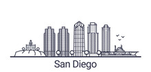 Linear Banner Of San Diego Cit...