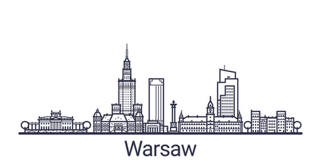 FototapetaLinear banner of Warsaw city. All buildings - customizable different objects with clipping mask, so you can change background and composition. Line art.