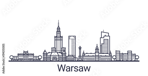 Linear banner of Warsaw city. All buildings - customizable different objects with clipping mask, so you can change background and composition. Line art.