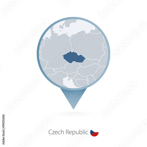 Map pin with detailed map of Czech Republic and neighboring countries Poster