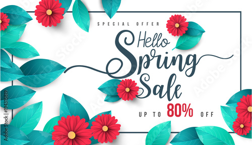 Fotomural  Spring Sale Banner with green leaf and colorful background