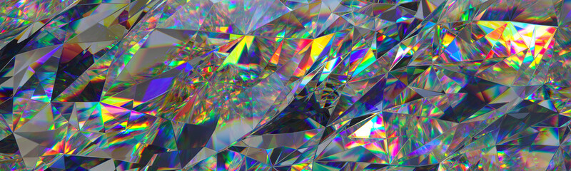 Panel Szklany Podświetlane Abstrakcja 3d render, abstract crystal background, iridescent texture, macro panorama, faceted gem, wide panoramic polygonal wallpaper